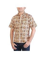 Viniyog Men's Regular Fit Cotton Hand Block Printed Kalamkari Shirt (Multi-Coloured) - B00NHGNARO