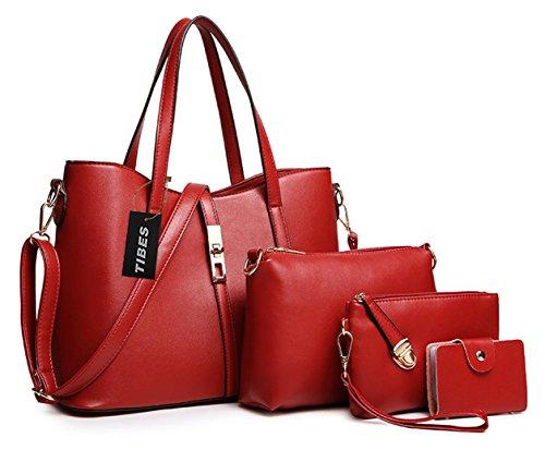 Tibes PU cuir sac a main + epaule de sac de femmes de la mode + porte-monnaie + carte 4pcs mis Vin rouge