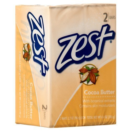 Zest Cocoa Butter Soap, 2 Bars