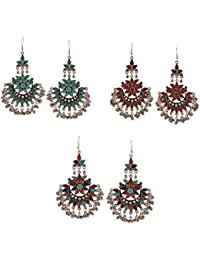 Zephyrr Fashion German Silver Afghani Dangler Hook Chandbali Earrings Set Of 3