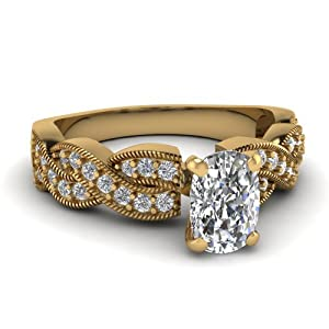 1.25 Ct Cushion Cut SI1-G Color Diamond Intertwined Engagement Ring Pave Set GIA Certificate # 5116568498