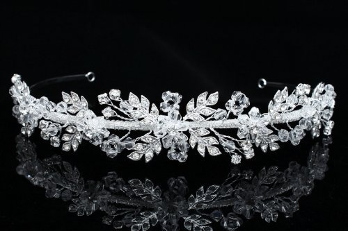 Handmade Rhinest one Crystal Flower Leaf Bridal Wedding Headband Tiara