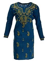 Banthan Women's Cotton Regular Fit Kurta (Bant_102, Dark Blue, 48)