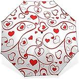 BAIHUISHOP 3 Folding Parasol Sun Protection Anti-UV Sun And Rain Umbrellas Heart Pattern Windproof Tested Compact...