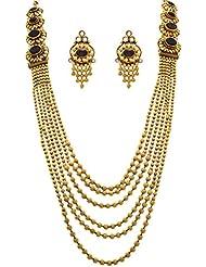 JFL - Traditional, Ethnic, Antique Multi Strand Gold Bead Stone & Austrian Diamond One Gram Gold Plated Long Necklace...