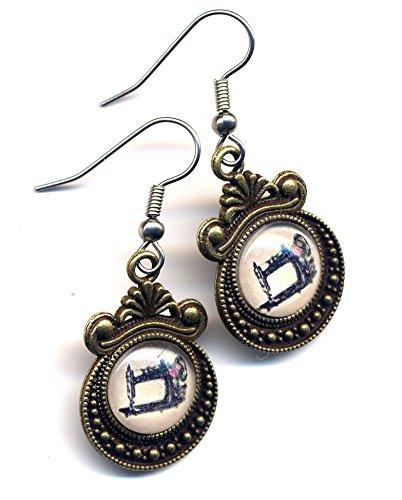 Sewing Machine Earrings, Victorian Style Earrings