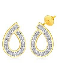 Peora Valentine 18 Karat Gold Plated Cubic Zirconia Pear Shape Drop Earrings (ET50G)