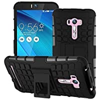 Rapid Zone Hybrid Military Grade Armor Kick Stand Back Cover Case For Asus Zenfone 2 5.5 - (Black)