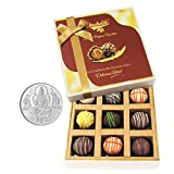 Chocholik Belgium Chocolates - 9pc Heavenly Treat Of Truffles With 5gm Pure Silver Coin - Diwali Gifts