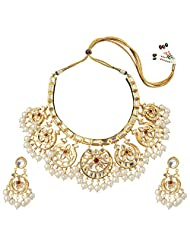 Mehtaphor Gold Plated Choker Necklace Set For Women - B00XW1RBNS