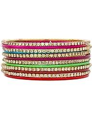 The Luxor Australian Diamond Studded Multicolor Daily Wear Bangles Set For Women