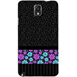 For Samsung Galaxy Note 3 :: Samsung Galaxy Note III :: Samsung Galaxy Note 3 N9002 :: Samsung Galaxy Note N9000 N9005 Floral Pattern ( Floral Pattern, Nice Pattern, Black Background, Pattern, Flower ) Printed Designer Back Case Cover By FashionCops
