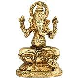 """Redbag - Lord Ganpati- Brass Statue - BS0023 (4""""H X 2.50""""W X 1.50""""D)"""