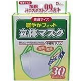 花粉 ハウスダスト 顔にぴったりフィットする立体成型マスク !普通サイズ 30枚入