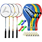 Guru JerryBR05 Series-COMBO-1 Badminton Racquets Set Pack Of Four With Four Cover Six Shuttlecock & Four Hand...