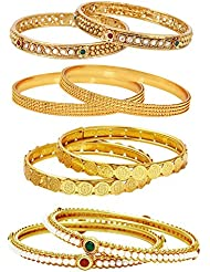 Jewels Galaxy Combo Of 1 Gram Gold Plated Bangles, Trendy Gold Plated Bangles And Designer Pearl Bangles - Pack...