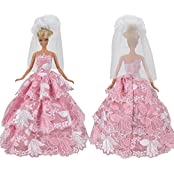 E Ting Fashion Flower Embroidery Clothes Party Dresses Princess Outfit For Barbie Doll