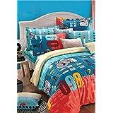Bianca Peek-A-Boo Peek-A-Boo Cotton Double Bedsheet With 2 Pillow Covers - Cornflower Blue (BED358)