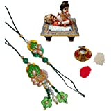 ECraftIndia Designer Bhaiya Bhabhi Rakhi Set With Laddu Gopal On Blue Marble Chowki And Roli Tikka Matki - B01IVBS0PG