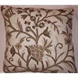 Crewel Pillow Tree Of Life Neutrals On Natural White Wool (18X18)