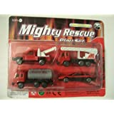 Die Cast Metal 4 Piece Mighty Rescue Play Set ~ Fire Department (Tow Truck, Ladder Truck, Oil Truck, Speedster...