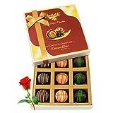 Valentine Chocholik's Luxury Chocolates - Cheerful Chocolates And Truffles With Red Rose