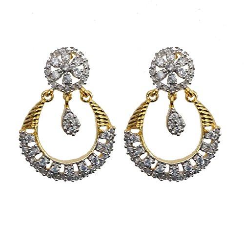 Sheetal Jewellery Silver & Golden Brass & Alloy Dangle & Drop Earrings For Women