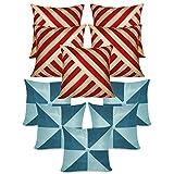 Oblique & Gig Cushion Covers Combo Rust & Blue 40 X 40 Cms(10 Pcs Set)