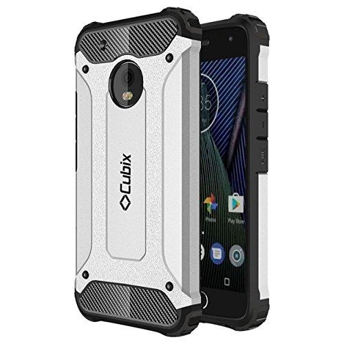 Cubix Impact Hybrid Armor Defender Case For Motorola Moto G5 (Silver)