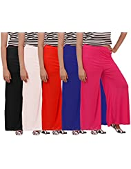 Carrol Women's Plazzo Combo Of 3 (Black,Red,white,Blue,Pink)