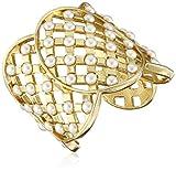 Ben-Amun Jewelry Lattice Simulated Pearl Statement Cuff Bracelet