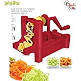 Chef's Star Spiralizer Omni-Blade Spiral Vegetable Slicer , Peeler & Shredder (Red)
