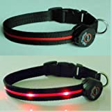 Dog Collar with Red LED Lights, Multi-Function, Large
