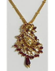 Maroon Stone Studded Pendant With Earrings - Stone And Metal