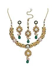 Seasons4 Pink Metal Choker Necklace-Earring Set For Women-NA10A198