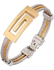 The Jewelbox Surgical Stainless Steel Gold Plated Openable Bracelet Kada For Men