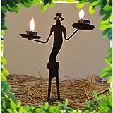 Chinhhari Arts Tribal Wrought Iron Tribal Candle Stand ( Black, 20.955 Cm X 17.78 Cm X 5.08 Cm )