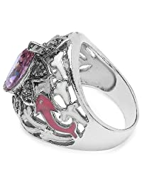7.20 Grams Pink Cubic Zirconia & Marcasite Rhodium Plated Brass Ring With White & Pink Enamel - B00XBQ6194