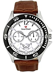 Swiss Grand SG-1150 Brown Coloured With Brown Leather Strap Analog Quartz Watch For Men