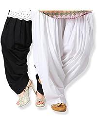 Nakoda NX Combo Of 2 Paliyala Salwar (White & Black)(Size-Free)