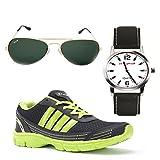 Elligator Stylish Green & Black Sport Shoes & Watch With Elligator Sunglass For Men's