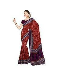 Inddus Exclusive Women Ravishing Orange Cotton Printed Saree