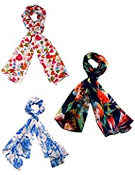 Diwali Gift- Set Of Three Small Trendy Stoles, Scarf And Dupatta Multicolored Stole For Women - BUY SET SAVE SHIPPING - B01LXQ0RT5