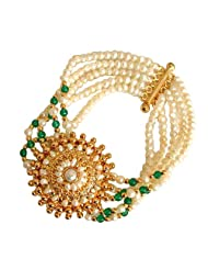 Surat Diamonds 5 Line Freshwater Pearl, Green Onyx & Gold Plated Pendant Bracelet For Women (SB18)