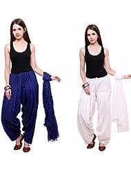 Bottomline Patiala Salwars And Dupatta Set Combo(Free Size,White & Royal Blue)