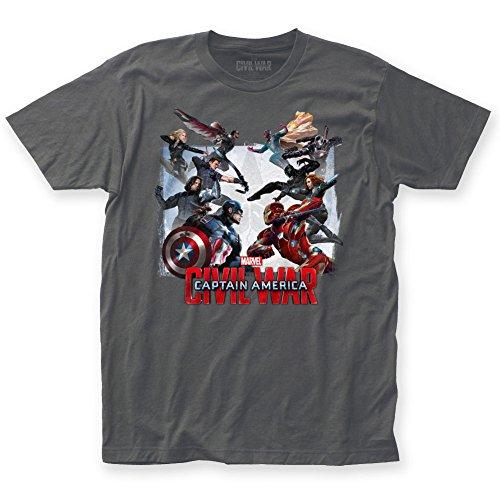 Captain America - Mens Civil War Clash Fitted T-Shirt, Size: XX-Large, Color: Heavy Metal
