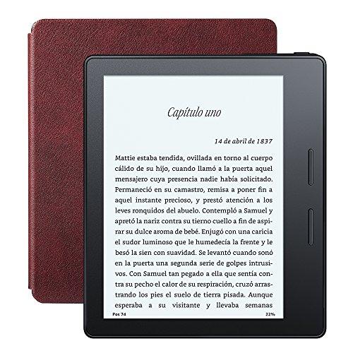 """Nuevo E-reader Kindle Oasis con funda de carga de cuero burdeos, pantalla de 6"""" (15,2 cm) de alta resolución (300 ppp) con luz integrada, wifi"""