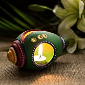 ExclusiveLane Shankh Shaped Terracotta Handpainted Tea Light Holder - Decorative Lights Lamps $ Lighting Home...