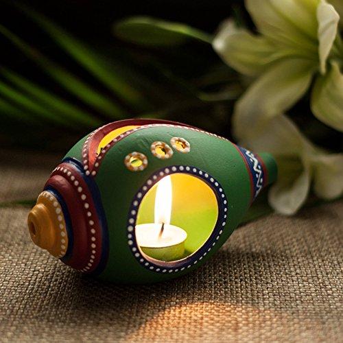 Exclusivelane Terracotta Handpainted Shankh Shaped Table Tea Light Holder -T Lights, Hanging Lights, Decorative...