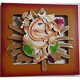 Laps Of Luxury - Ganesha God Idol On Leaf Wall Hanging Photo Frame In Orange Color Border Finish (9x8.5 Inches)